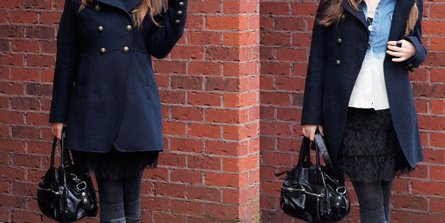 Winter Outfit: Second Hand Rubber Boots And Lace Skirt