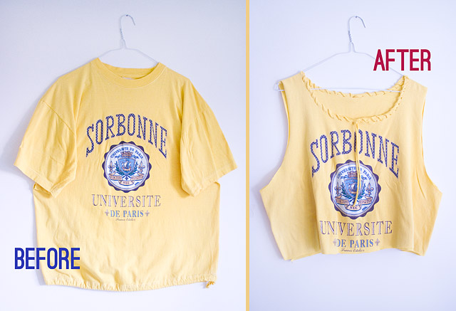 DIY Loose Crop Tee Made Of Male T-Shirt  Before After