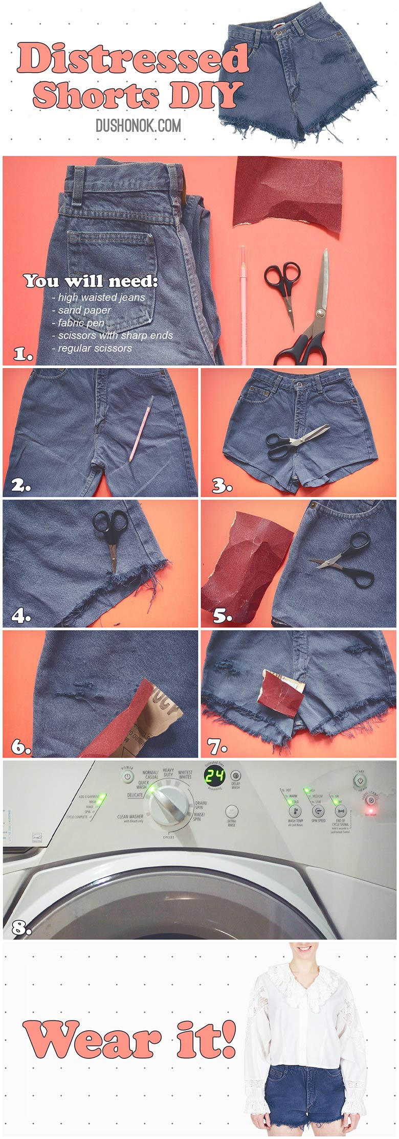 Distressed Denim Cut Off High Waisted Shorts DIY Steps
