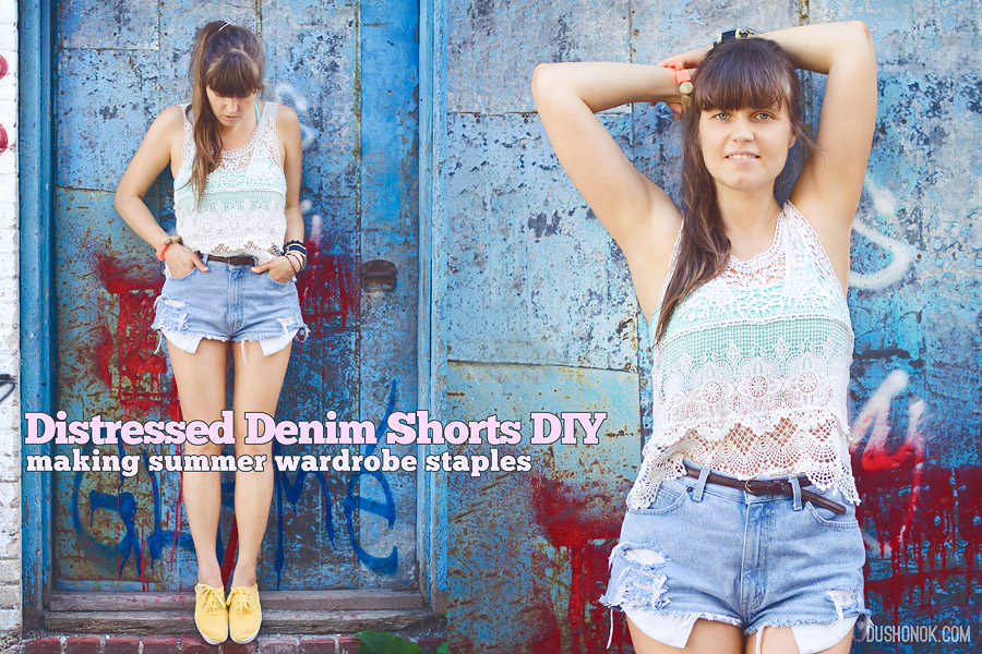 8fdbf8b15fa4 Distressed Denim Cut Off High Waisted Shorts DIY  Making Summer Wardrobe  Staples