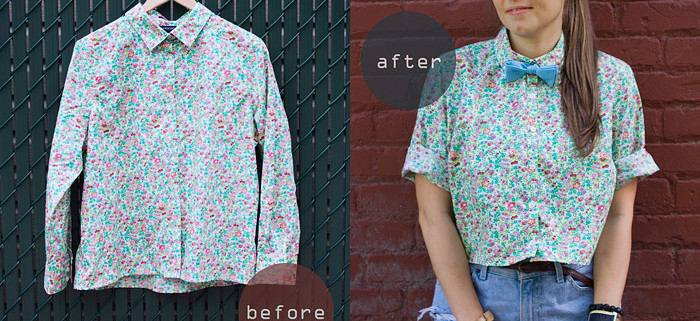 Crop Shirt DIY: Making Wardrobe Basics Before And After