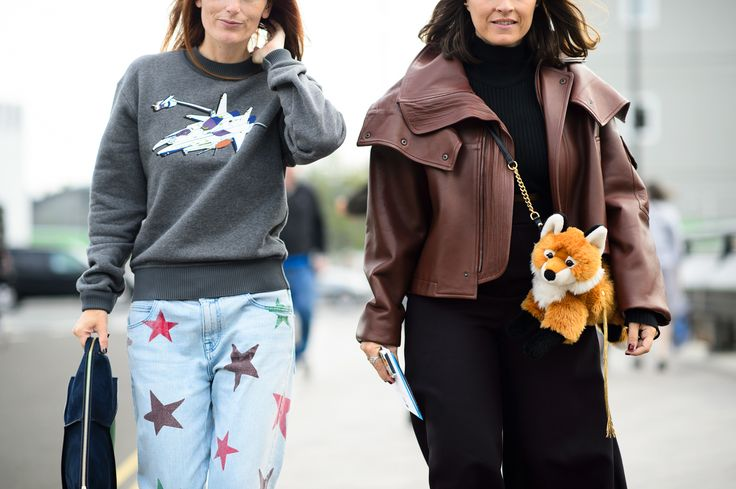 Fox plush purse and star stamped jeans at LFW 2015