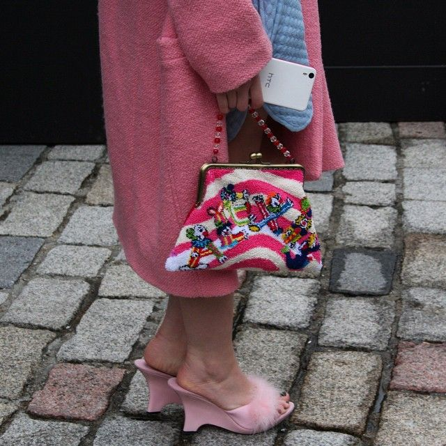 Street style Bath towel purse and pink fur sandals at LFW 2015