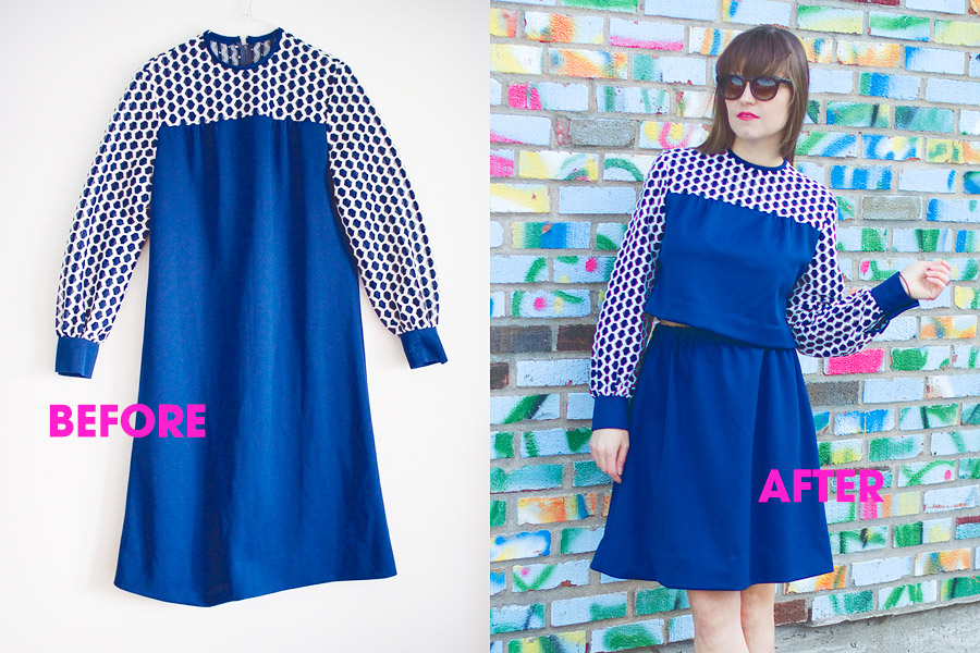 Spring DIY convert a vintage dress into a two-piece set: Before and after