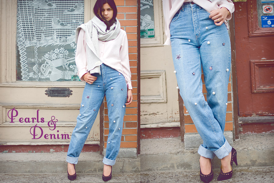 Pearls & Denim: Bead Embellished Jeans DIY (collaboration with  FripeFabrique)