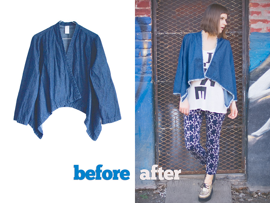 Frayed Hem Denim Cardigan DIY Before and After