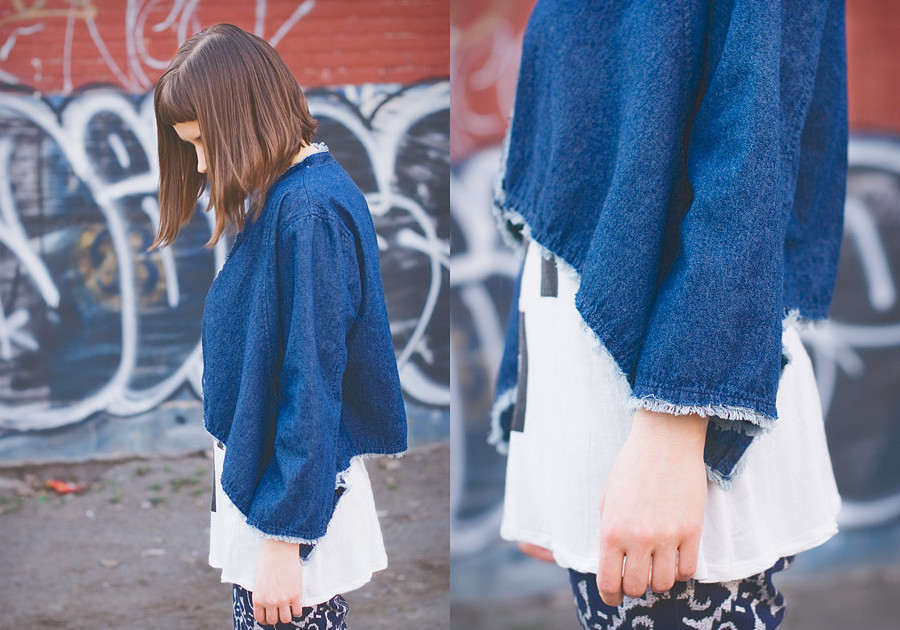 Frayed Hem Denim Cardigan DIY Result