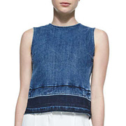 Reli D Frayed Sleeveless Denim Top