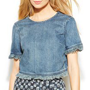 MICHAEL Michael Kors Frayed Cropped Denim Tee
