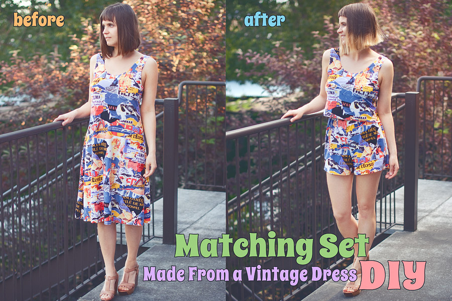 Summer DIY: Two Piece Set Made of a Vintage Dress Before After
